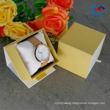 Free Sample Custom Logo White Art Paper Watch Drawer Paper Box With Pillow Insert