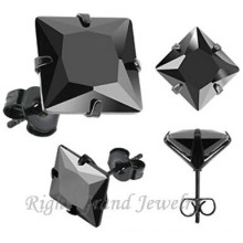 316L Steel Black Anodized Prong Setting Square Jet Cubic Zircon Earring Studs