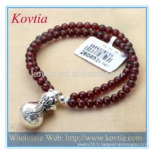 Meilleur bracelet en grenat à manches longues à la mode avec bracelet en cuir sterling 925 en argent sterling