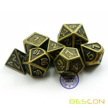 Bescon New Style Ancient Brass Solid Metal Polyédrale D & D Dice Set de 7 Brass Metallic RPG Role Playing Game Dice 7pc Set D4-D20