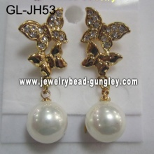 gift butterfly shell pearl earrings
