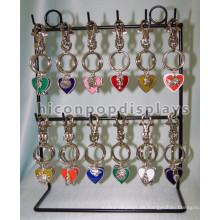 Unique Metal 2 Tier 12 Ganchos Pequeños Objetos Colgantes Display Negro Powdered Counter Key Chain Display