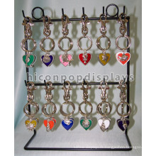 Unique Metal 2 Tier 12 Hooks Small Hanging Items Display Black Powdered Counter Key Chain Display