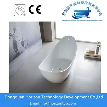 Stand alone acrylic white bathtub