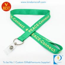Acollador impreso de nylon verde de encargo con la correa del PVC para la promoción