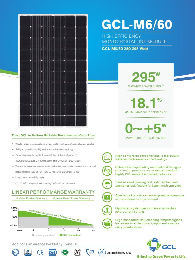 295W Mono Solar panels