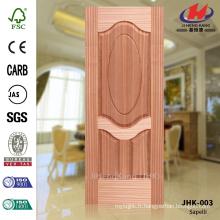 JHK-003 Epaisseur 3mm Spécial 3 + 1 panneaux Appartement Projet EV- Sapelli Veneer Texture Moulé Ellipse Panneau de porte