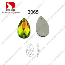 China Wholesale Lead Free Machine Cut Flat Back Drop Sew-on Glass Stone with Hole for Garment