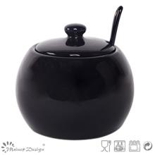 Shinning Glaze Stoneware Sugar Pot avec une cuillère