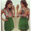 Hot selling summer design sleeveless green color women dress floral laced backless women dress model
