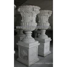 Jardinière de marbre pour jardin en pierre (QFP195)