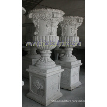 Marble Flower Planter for Garden Stone (QFP195)
