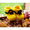 Yellow and Black crochet baby girl and boy booties