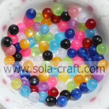 Newest Shinny Cat`s Eye Acrylic Resin 6-12mm Chunky Beads For Decor Jewelry Accessories