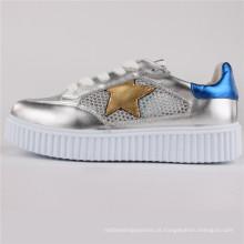 Mulheres Sapatos PU / Couro / Malha Sapatos Casuais Snc-65003-Slv