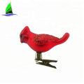 Glass bird Ornaments with Glitter Accents Holiday