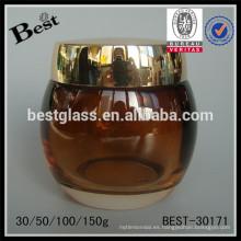 30/50/100 / 150g color ámbar redondo en forma de tarro cosmético con tapa de oro, tarro de crema de vidrio para la venta, cuidado personal tarro de cuidado de la cara