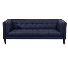 Home Furniture Dark Blue Leather Office 3 seats Kubus couch living room sofa