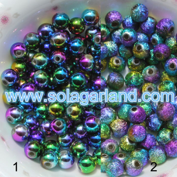 6MM Peacock Mullti-Color Acrylic Round Beads Spacer Finding