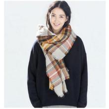 Women Large Stylish Warm Plaid Blanket Scarf Gorgeous Wrap Shawl (80016-1)