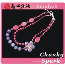 2014 handgemachte Granat Stein Kette Kristall Edelstein neuesten neuen einfachen neuesten Hochzeit Diamant Perlen Halskette Designs für Damen Anzug