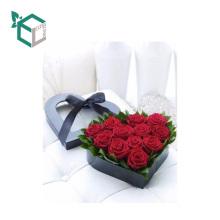 Luxus dunkel blau Karton handgemachte Custom Design wasserdichte Blume Geschenk Herz Box