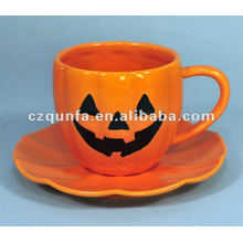 Halloween theme decorative ceramic pumpkin cup and saucer