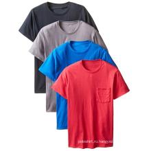 Оптовая нестандартная Конструкция Повседневная круглый шеи T рубашка с карманом на груди