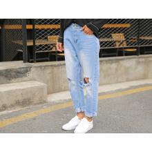 Pantalones vaqueros de las medias de las mujeres de la moda