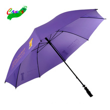 Logo prints customized personalized premium waterproof fabric cloth umbrellas, strong storm plain 60'' purple golf umbrella