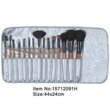 15pcs ivory plastic handle animal/nylon hair makeup brush tool set with silver satin case
