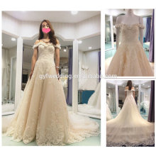 Luxurious Crystal Wedding Dresses 2016 Champagne Sweetheart Off the Shoulder Beaded Tulle Long Train Flower Wedding Dresses A178