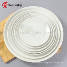 Plato de cena de la etiqueta de la venta al por mayor de la placa profunda cerámica blanca redonda redonda