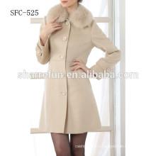 белый цвет женщин шерстяное пальто