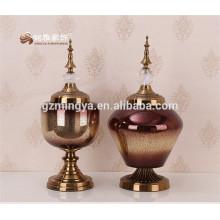 Vidrio de alta clase rectos ondulado forma redondeada flor de boda jarrón Decoración para el hogar