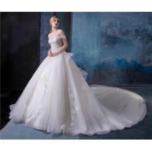 Elegant off shoulder ruffle design wedding dress bridal gown HA584