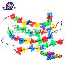 Plastic letter threading toys