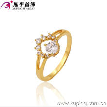 Xuping Fashion Engagement 24k oro plateado exquisito anillo de piedras preciosas