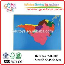 Montessori Südamerika Pädagogische hölzerne Puzzlespielkarte