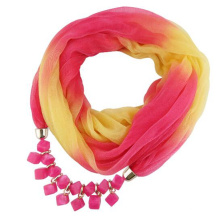 Nuevo estilo llegó la moda de las mujeres Impreso gradiente de la gasa de la gasa colgante de la joyería bufanda
