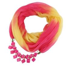 Nouveau style est arrivé femmes mode Imprimé gradient rampe mousseline de soie bijoux pendentif écharpe
