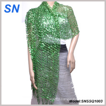 Lady′s Sequined Shawl, Long Slim Scarf, Paillette Scarf