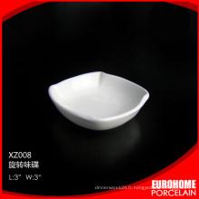 2015 nouveau design moderne 3inch airline blanc porcelaine petit plat