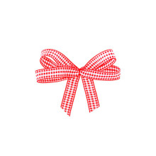 Grid pattern red Ribbon Bow for packing box