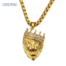 Punk Iced Out Jewelry Naszyjnik Gold Lion Head