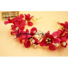 High Quality Handmade Red Silk Flower Beaded Headband/Wedding Hair Accessories