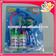 Wholesale Blue bubble gun with light,plastic bubble gun toys with two bottles bubble water