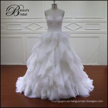 Vestido de novia de la vendimia Vestido de boda de la falda de Organza Ruffles