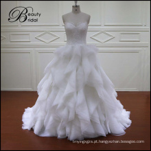Vestido de noiva vintage Organza Ruffles saia vestido de noiva
