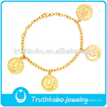 gold medal bracelet in priest pattern design hot fashion China factory 316L stainless steel or 304